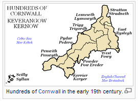 "The ""hundred"" subdivisions of Cornwall-19th Century"