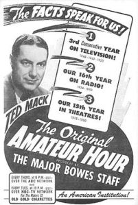 Image:  1950 Ad for Ted Mack's Original Amateur Hour
