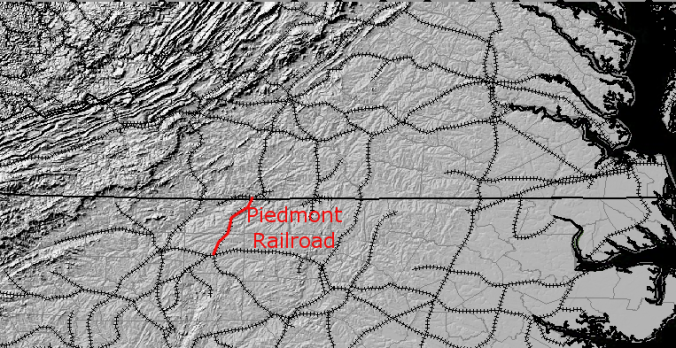 Piedmont Railroad, built during Civil War to connect Greensboro NC and Danville, VA Source: The National Map, Seamless Server Viewer