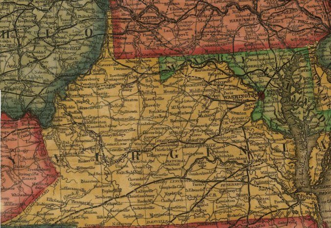 Railroads in Virginia, 1855 (note that Roanoke did not exist before the war) Source: Library of Congress - Williams' commercial map of the United States and Canada with railroads, routes, and distances (1855)