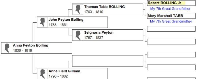 Anna Peyton Bolling Relationship Chart