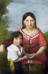 Thought to be Pocahontas and her son Thomas P. Rolfe