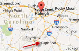 Cape Fear is in the lower right. The pin points to House Creek in Raleigh where my Ford ancestors lived.