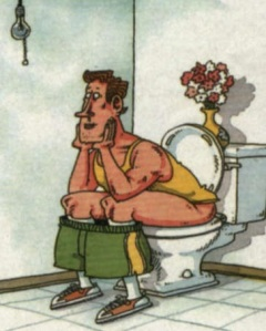 man on toilet