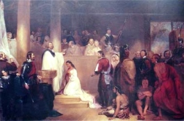 John Chapman's Baptism of Pocahontas at Jamestown, Virginia, completed in 1840, hangs in the Rotunda of the United States Capitol.