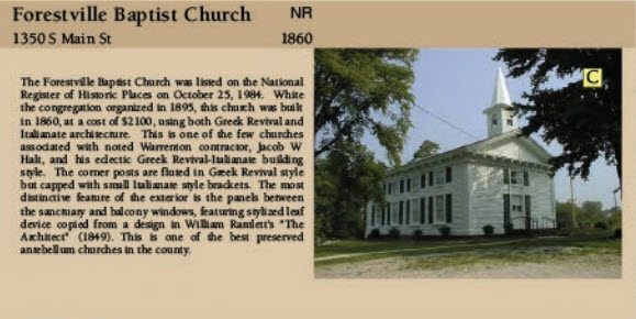 Forestville NC Baptist Church 1860