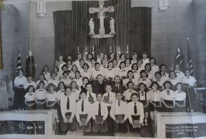 School Choir, inside the Little White Church, 1957.