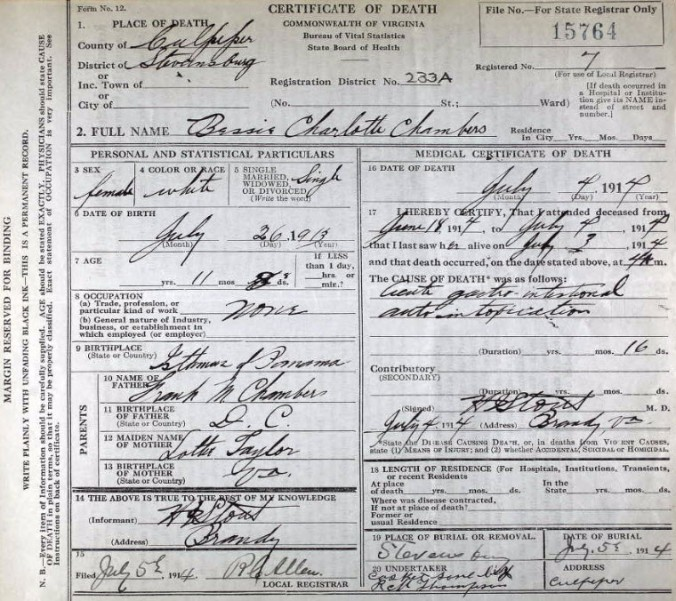 Death Certificate-Bessie Charlotte Chambers