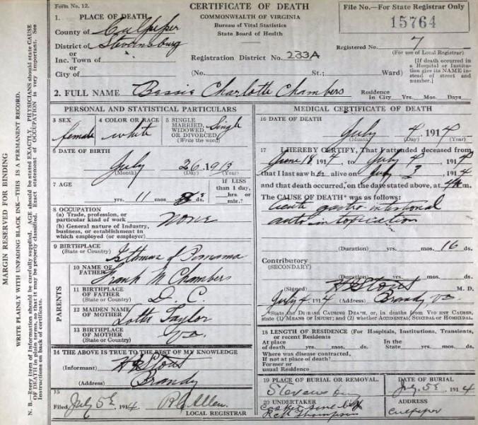 Death Certificate-Bessie Charlotte Chambers