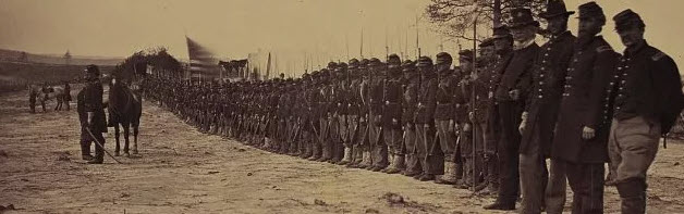 One hundred and tenth Pennsylvania regiment at Falmouth, Va., April 24, 1863, nearly annihilated at battle of Chancellorsville, created by Andrew J. Russell, Library of Congress.