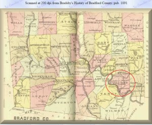 Map - 1891 Bradford County-Wyalusing PA