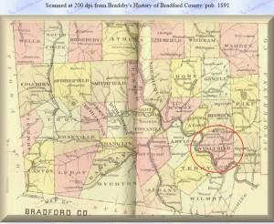 Map - 1891 Bradford County-Wyalusing PA