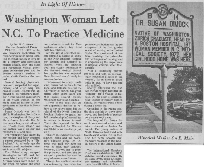 Susan Dimock Newspaper Article