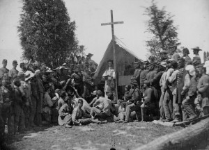 "Matthew Brady's picture of a sermon given to the ""Fighting 69th"" Infantry in 1861."