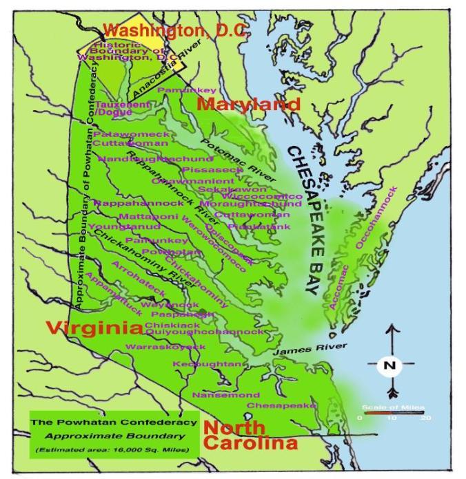 Boundaries of The Powhatan Confederacy 1607